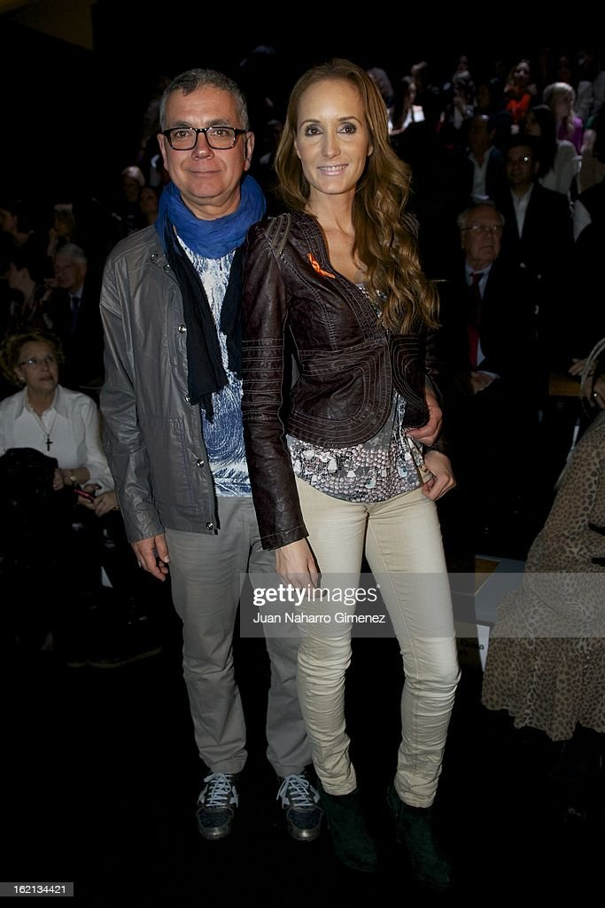 Juan Ramon Lucas (L) and <a gi-track='captionPersonalityLinkClicked' href=/galleries/search?phrase=Sandra+Ibarra&family=editorial&specificpeople=2565278 ng-click='$event.stopPropagation()'>Sandra Ibarra</a> (R) attend a fashion show during the Mercedes Benz Fashion Week Madrid Fall/Winter 2013/14 at Ifema on February 19, 2013 in Madrid, Spain.