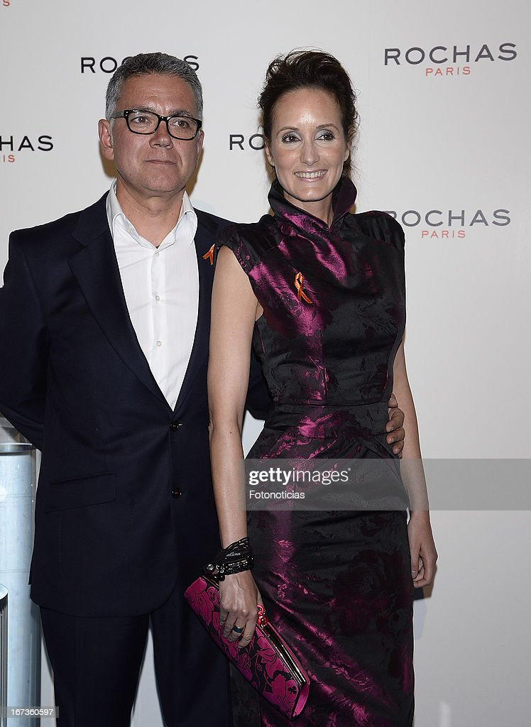 Juan Ramon Lucas and Sandra Ibarra attend 'Tribut to Freshness and Rochas Women' event at the French embassy on April 24, 2013 in Madrid, Spain.