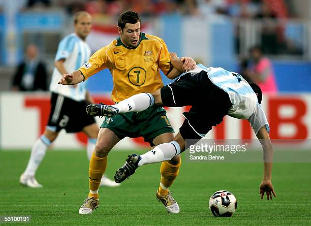Juan Riquelme of Argentina challenges Brett Emerton of Australia during the FIFA Confederations Cup 2005 match between Argentina and Australia on...