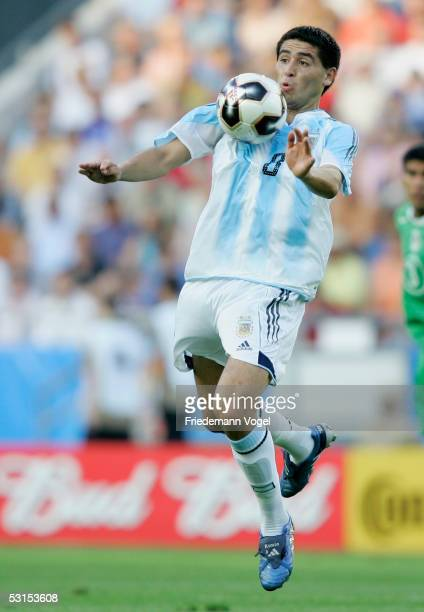 Juan Riquelme of Argentina in action during the Semi Final match between Mexico and Argentina for the FIFA Confederations Cup 2005 at the AWDArena on...