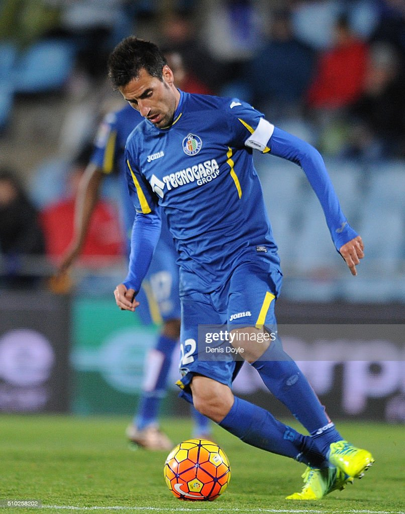 Juan Rodriguez of Getafe in action during the La Liga match between Getafe CF and Club Atletico de Madrid at Coliseum Alfonso Perez on February 14, 2016 in Getafe, Spain.