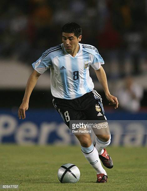 Juan Roman Riquelme of Argentina during the 2006 World Cup qualifying match between Argentina and Colombia at The River Plate Stadium on March 31 in...