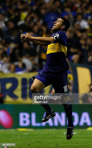 Juan Roman Riquelme of Boca Juniors celebrates after scoring during a match between Boca Juniors and River Plate as part of 10th round of Torneo...