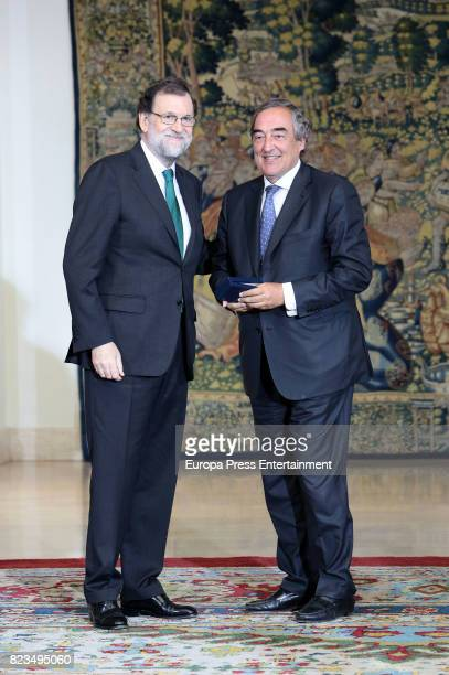 Juan Rosell and Mariano Rajoy attend the Golden Medal of Merit In Work during a ceremony at Moncloa Palace on July 27 2017 in Madrid Spain