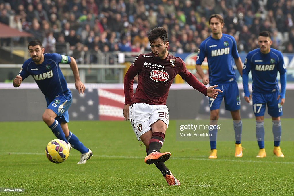Juan Sanchez Mino of Torino FC misses a penalty during the Serie A match between Torino FC v US Sassuolo Calcio at Stadio Olimpico di Torino on November 23, 2014 in Turin, Italy.