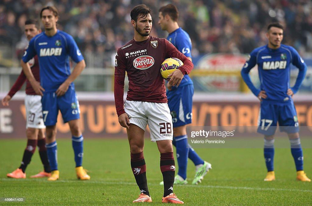 Juan Sanchez Mino of Torino FC prepares penalty during the Serie A match between Torino FC v US Sassuolo Calcio at Stadio Olimpico di Torino on November 23, 2014 in Turin, Italy.