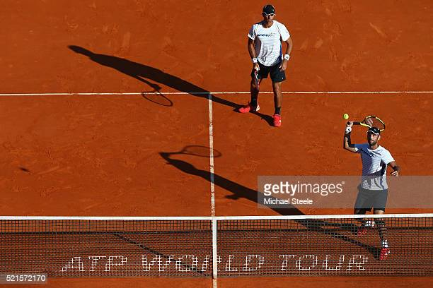 Juan Sebastian Cabal and Robert Farah of Colombia in action during the semi final match against Nicolas Mahut and PierreHugues Herbert of France on...