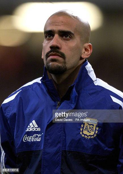 Juan Sebastian Veron of Argentina in the line up just before the friendly international game against Wales at the Millennium Stadium Cardiff 12/01/04...