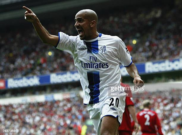 Juan Sebastian Veron of Chelsea celebrates after scoring during the FA Barclaycard Premiership match between Liverpool and Chelsea on August 17 2003...