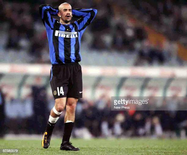 Juan Sebastian Veron of Inter Milan looks on during the match against Lazio March 12 2005 in Stadio Olimpico in Rome Italy