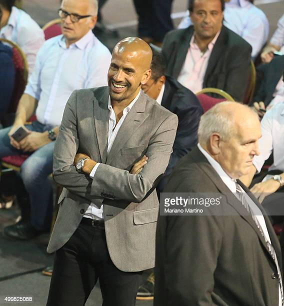 Juan Sebastian Veron president of Estudiantes de la Plata smiles during Argentine Football Association presidential elections at Julio H Grondona...