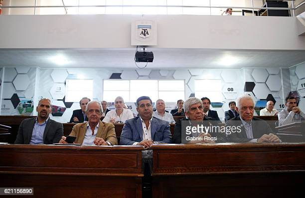 Juan Sebastian Veron President of Estudiantes seets next to Rodolfo D'Onofrio President of River Plate Daniel Angelici President of Boca Juniors Hugo...