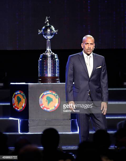 Juan Sebastián Verón former President of Estudiantes delivers a speech during the Official Draw of the 56th Copa Bridgestone Libertadores at Conmebol...