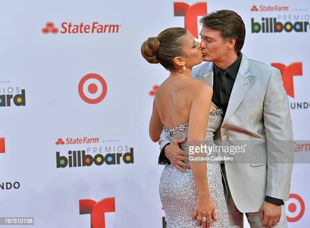 Juan Soler and wife Maki arrive at Billboard Latin Music Awards 2013 at Bank United Center on April 25 2013 in Miami Florida