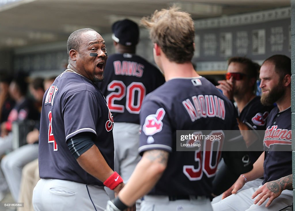 Juan Uribe #4 and Tyler Naquin #30 of the Cleveland Indians celebrate back to back home runs in the fifth inning of the game against the Detroit Tigers during the game on June 26, 2016 at Comerica Park in Detroit, Michigan.