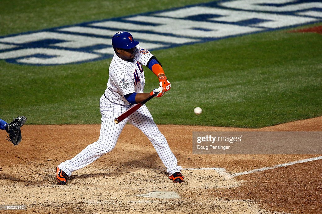 Juan Uribe #2 of the New York Mets hits an RBI single in the sixth inning against the Kansas City Royals during Game Three of the 2015 World Series at Citi Field on October 30, 2015 in the Flushing neighborhood of the Queens borough of New York City.