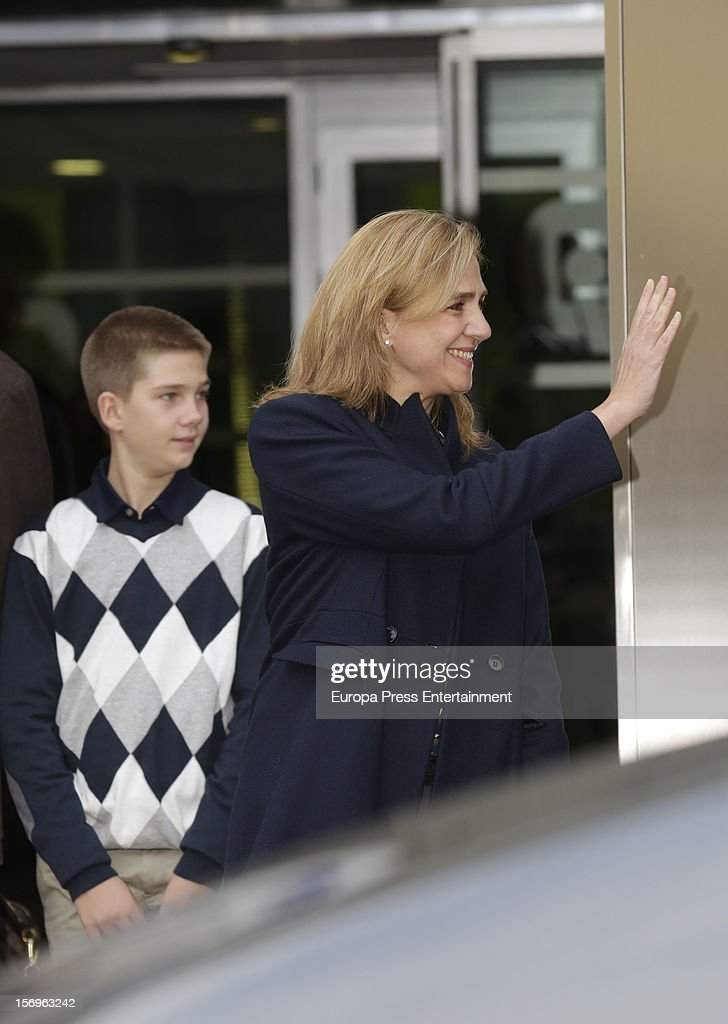 Juan Valentin Urdangarin and <a gi-track='captionPersonalityLinkClicked' href=/galleries/search?phrase=Princess+Cristina+of+Spain&family=editorial&specificpeople=160232 ng-click='$event.stopPropagation()'>Princess Cristina of Spain</a> visit King Juan Carlos of Spain on November 25, 2012 in Madrid, Spain. King Juan Carlos of Spain underwent an operation on his left hip.