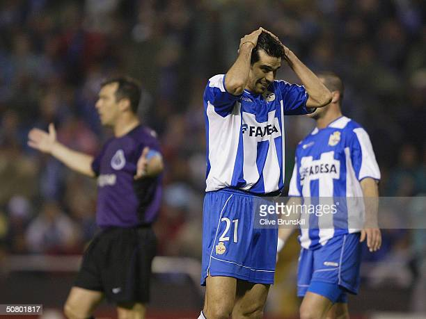 Juan Valeron of Deportivo shows his dismay after a near miss during the UEFA Champions League Semi Final Second Leg match between Deportivo La Coruna...