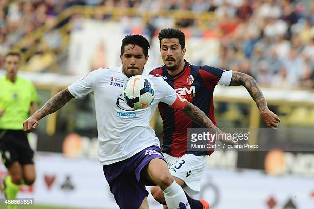 Juan Vargas of ACF Fiorentina in action during the Serie A match between Bologna FC and ACF Fiorentina at Stadio Renato Dall'Ara on April 26 2014 in...
