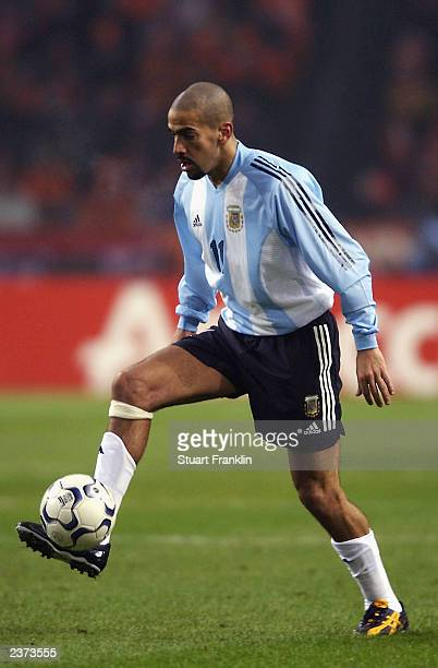 Juan Veron of Argentina controls the ball during the International friendly match between Holland and Argentina held on February 12 2003 at The...