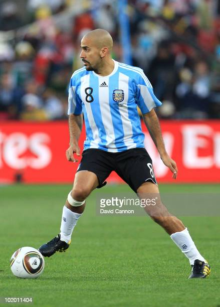 Juan Veron of Argentina in action during the 2010 FIFA World Cup South Africa Group B match between Argentina and Nigeria at Ellis Park Stadium on...