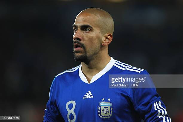 Juan Veron of Argentina in action during the 2010 FIFA World Cup South Africa Group B match between Greece and Argentina at Peter Mokaba Stadium on...