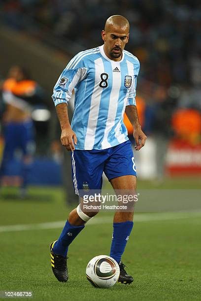 Juan Veron of Argentina in action during the 2010 FIFA World Cup South Africa Round of Sixteen match between Argentina and Mexico at Soccer City...