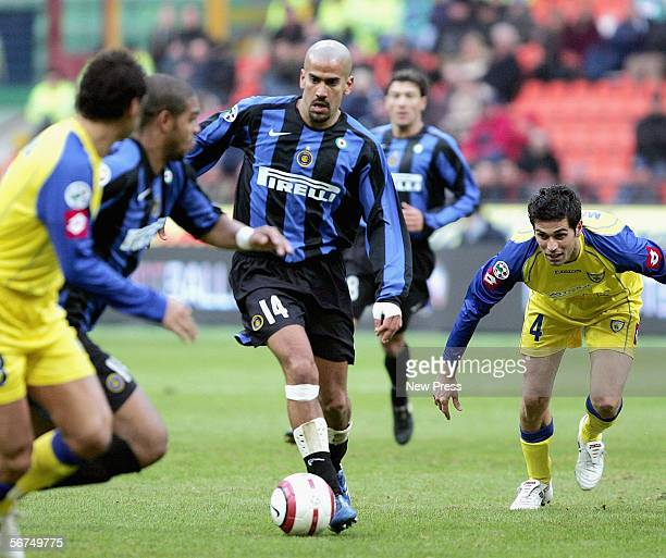 Juan Veron of Inter Milan in action during the Serie A match between Inter Milan and Chievo at the Giuseppe Meazza Stadium on February 5 2006 in...