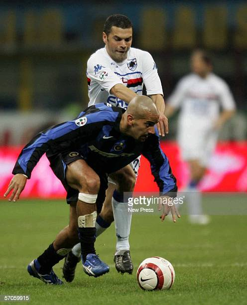 Juan Veron of Inter tussles with Max Tonetto of Sampdoria during the Serie A game between Inter Milan and Sampdoria at the San Siro on March 11 2006...