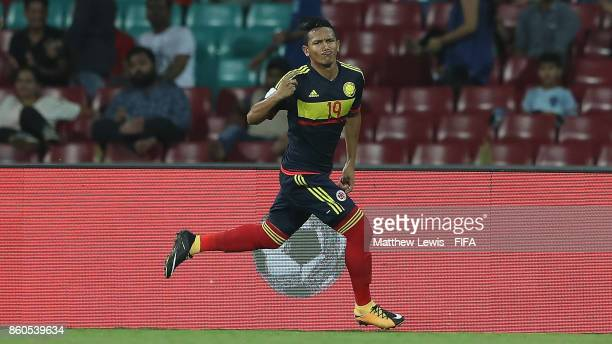 Juan Vidal of Colombia celebrates his goal during the FIFA U17 World Cup India 2017 group B match between USA and Colombia at Dr DY Patil Cricket...