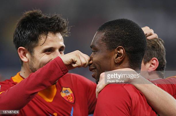 Juan with his teammates of AS Roma celebrates after scoring the fourth goal during the Serie A match between AS Roma and AC Cesena at Stadio Olimpico...