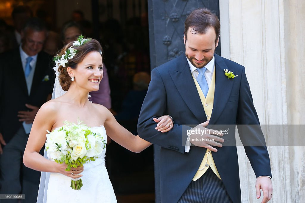 Juan Zorreguieta and Andrea Wolf get married at Servite Church on June 07, 2014 in Vienna, Austria.