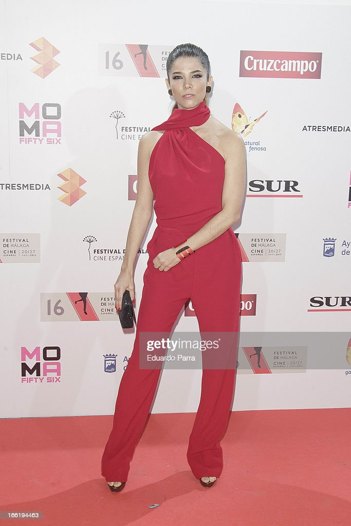 Juana Acosta attends Malaga Film Festival party photocall at MOMA 56 disco on April 9, 2013 in Madrid, Spain.