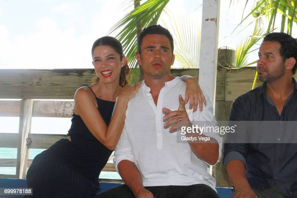 Juana Acosta Juan Pablo Raba and Jon Huertas participate in press conference of movie 'Imprisoned' on June 22 2017 in Loiza Puerto Rico