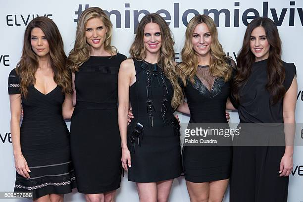 Juana Acosta Judit Masco Vanesa Romero Edurne and Patry Jordan are presented as new ambassadors of 'Elvive' on February 11 2016 in Madrid Spain