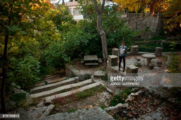 Juana Gasco stands next to a dried up water source in droughtstricken Albanchez de Magina near Jaen on November 20 2017 Spain and Portugal are...