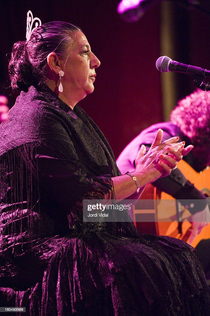 Juana la del Pipa performs on stage during Caprichos del Apolo at Sala Apolo on February 1, 2013 in Barcelona, Spain.