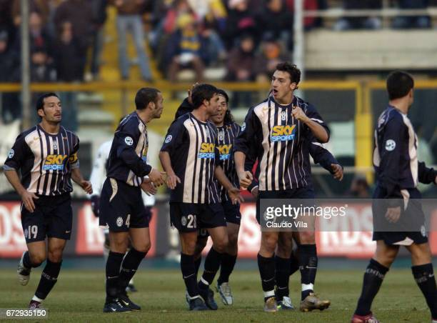 Zlatan Ibrahimovic of Juventus celebrates FC after scoring the goal during the italian Serie A 2004/2005 17 th round macht played between Parma and...