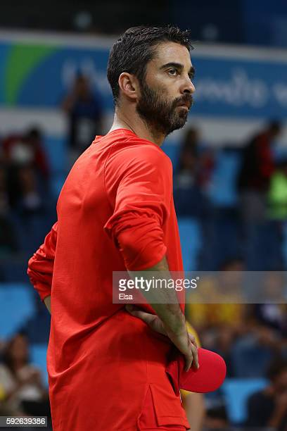 JuanCarlos Navarro of Spain looks on prior the Men's Bronze medal game on Day 16 of the Rio 2016 Olympic Games at Carioca Arena 1 on August 21 2016...
