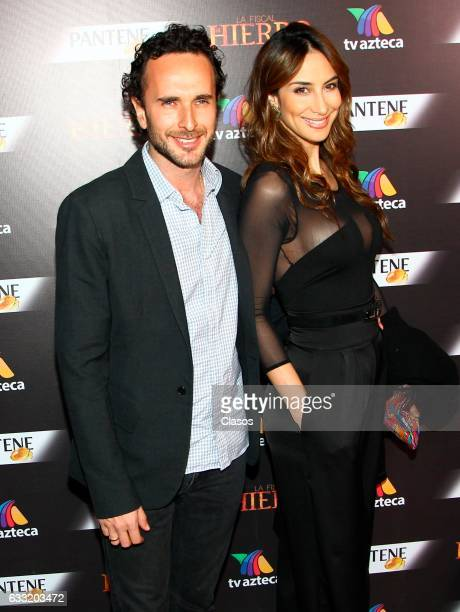 Juancho Cardona and Stephanie Cayo pose during the premiere of 'La Fiscal de Hierro' TV serie for TV Azteca at Lunario del Auditorio Nacional on...
