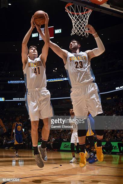 Juancho Hernangomez and Jusuf Nurkic of the Denver Nuggets go for the rebound during the game against the Golden State Warriors on November 10 2016...