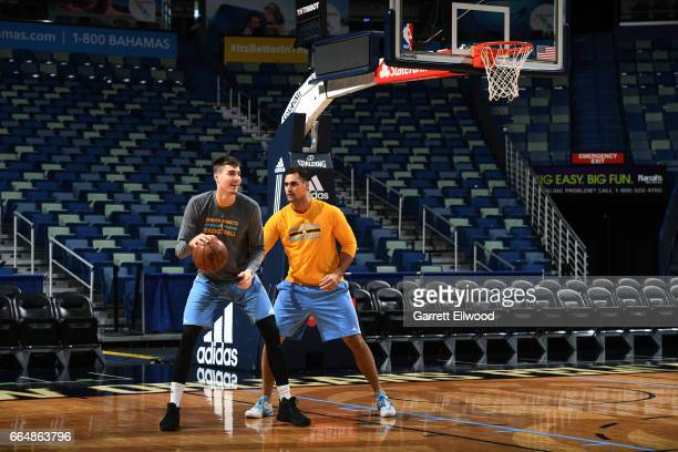 Juancho Hernangomez of the Denver Nuggets dribbles the ball during practice on April 4 2017 at the Smoothie King Center in New Orleans Louisiana NOTE...