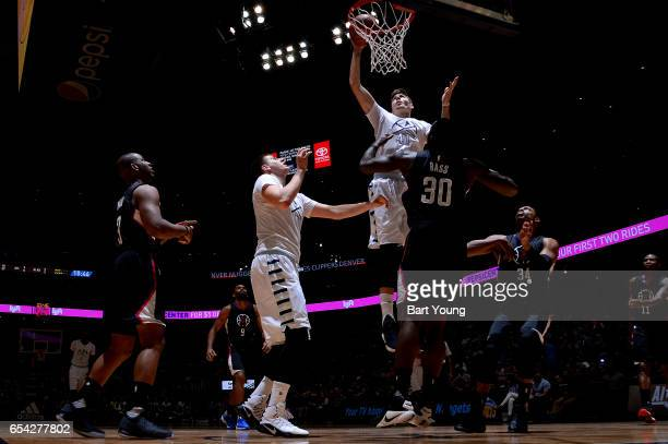 Juancho Hernangomez of the Denver Nuggets dunks against the LA Clippers during the game on March 16 2017 at the Pepsi Center in Denver Colorado NOTE...