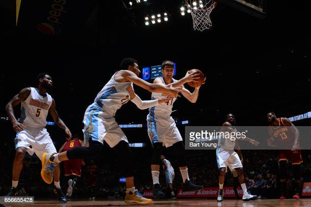 Juancho Hernangomez of the Denver Nuggets gets the rebound during the game against the Cleveland Cavaliers on March 22 2017 at the Pepsi Center in...
