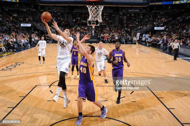 Juancho Hernangomez of the Denver Nuggets goes up for a shot during a game against the Los Angeles Lakers on March 13 2017 at the Pepsi Center in...