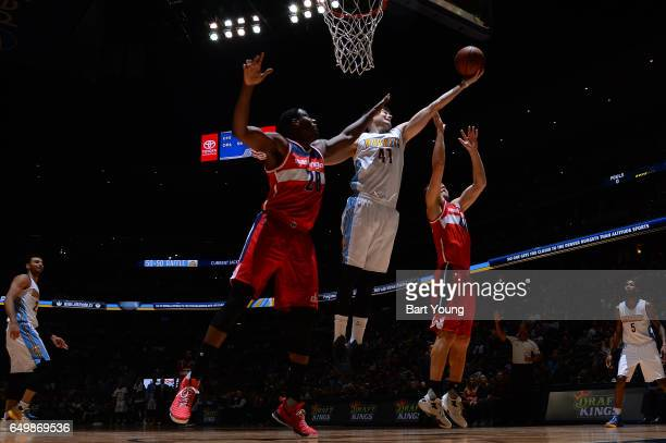 Juancho Hernangomez of the Denver Nuggets grabs the rebound against the Washington Wizards during the game on March 8 2017 at the Pepsi Center in...