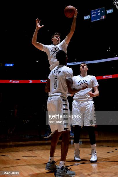Juancho Hernangomez of the Denver Nuggets shoots a lay up against the LA Clippers during the game on March 16 2017 at the Pepsi Center in Denver...