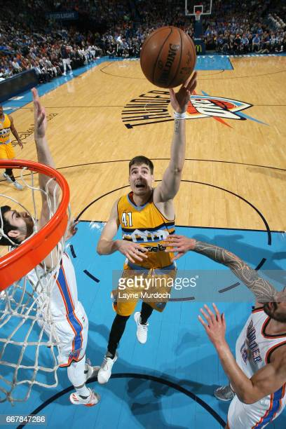 Juancho Hernangomez of the Denver Nuggets shoots a lay up during the game against the Oklahoma City Thunder on April 12 2017 at Chesapeake Energy...