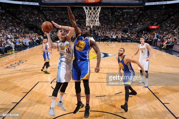 Juancho Hernangomez of the Denver Nuggets shoots the ball against the Golden State Warriors on February 13 2017 at the Pepsi Center in Denver...