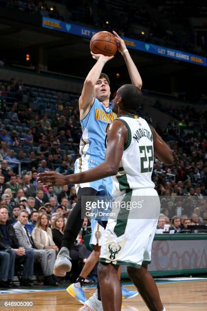 Juancho Hernangomez of the Denver Nuggets shoots the ball against the Milwaukee Bucks on March 1 2017 at the BMO Harris Bradley Center in Milwaukee...